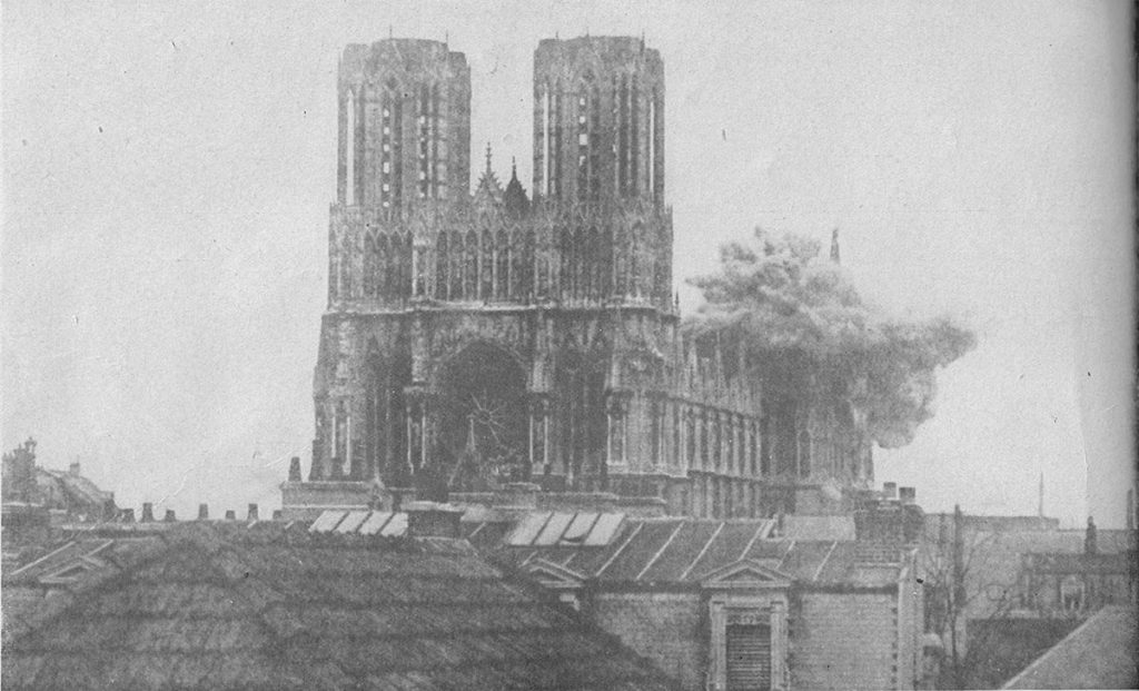 Kathedraal Reims Granaatinslag Eerste Wereldoorlog